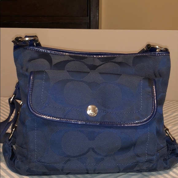 14bd0c7516 Coach Bags | Kyra Nylon Signature File Shoulder Bag Navy | Poshmark